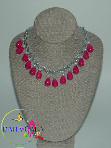 Dyed Pink Turquoise & Freshwater Pearls Teardrop Necklace Set.