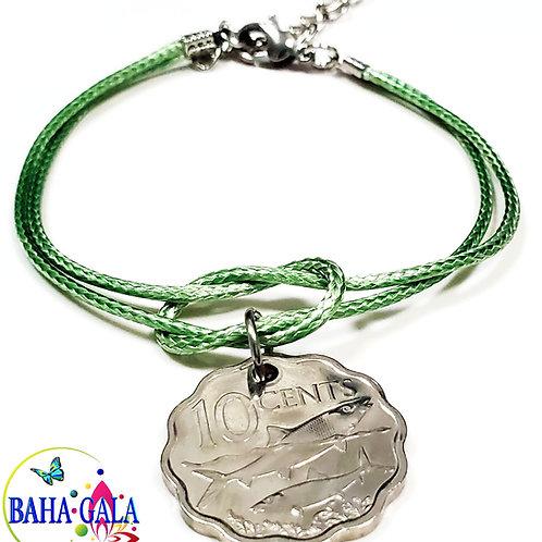 "The Elegant ""Halo Knot"" Adjustable Mint Green Cord Bracelet."