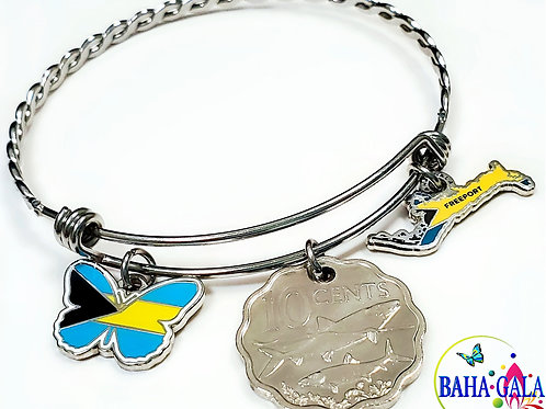 """The Elegant """"Butterfly Twist"""" Coin & """"Grand"""" Charm Bangle."""