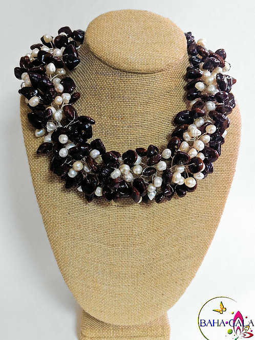 Natural Tamarind Seeds & Freshwater Pearl 3 Piece Set.
