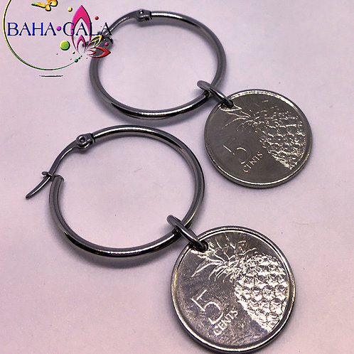 BG $0.5 Cent Stainless Steel Hoop Earring.