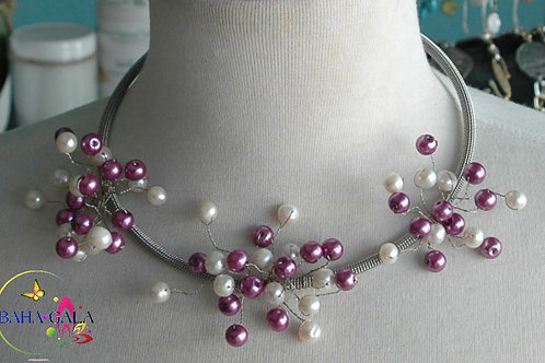 Pink & White Glass Pearls Branch Necklace & Earring Set.