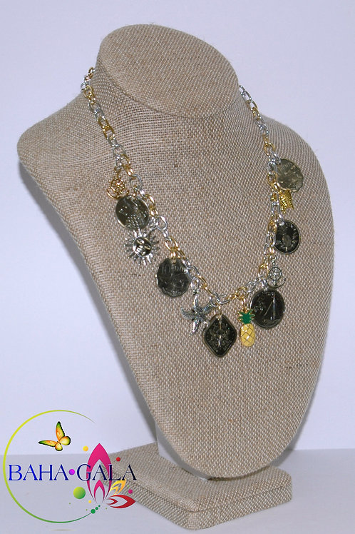 Authentic Bahamian Coins Charm Necklace & Earring Set.