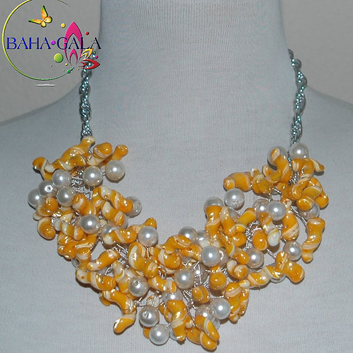 Canary Yellow & White Swirl Mother Of Pearl Nuggets Necklace & Earring Set.