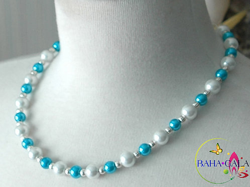 Turquoise & White Glass Pearls Necklace & Earring Set.