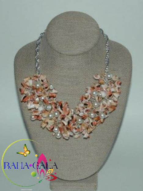 Natural Pink Conch Shell Chips Necklace & Earring Set.