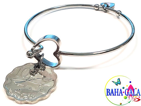"Authentic Bahamian $0.10 Cent Coin ""Halo Heart"" Adjustable Bangle."