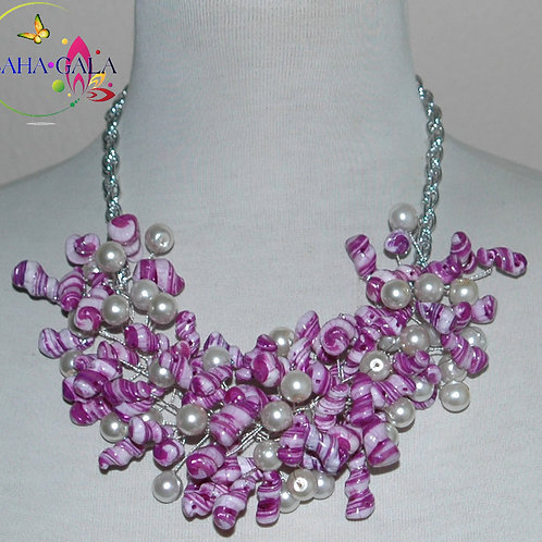 Purple & White Swirl Mother Of Pearl Nuggets Necklace & Earring Set.