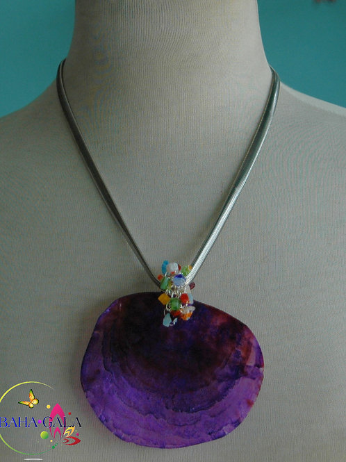 Handpainted with Oil Paints Natural Oyster Shell Pendant.