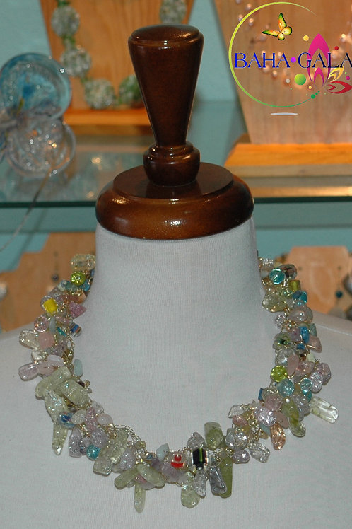 Multicolored Cracked Ice Glass Operal Crocheted Necklace & Earring Set.
