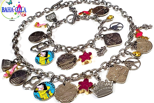 Authentic Bahamian Coins & Charm Stainless Steel Necklace & Bracelet Set.