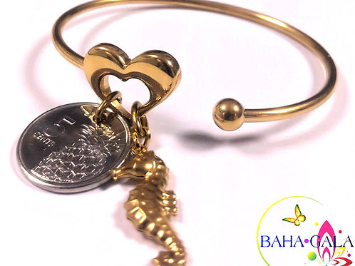 Stainless Steel Heart Bangle With Bahamian $0.5 Cent Coin & Charms