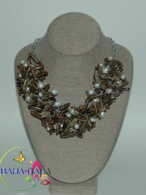 Natural Poincianna Seeds & Freshwater Pearls Necklace & Earring Set.