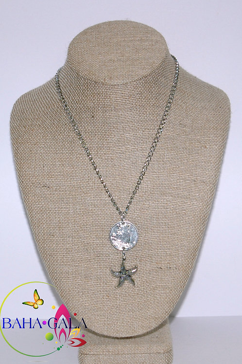 Authentic Bahamian $0.25 Cent Coin & Starfish Charm Pendant.