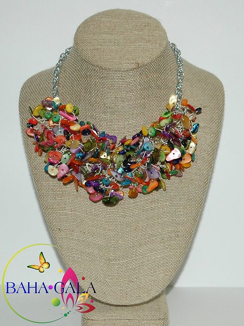 Multicolored Mother Of Pearl Necklace Set.