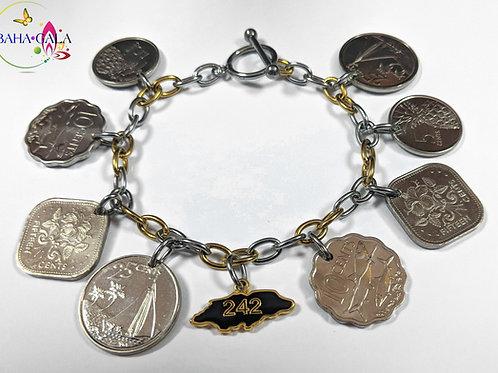 BG Authentic Bahamian Coin 242 Charm Bracelet.