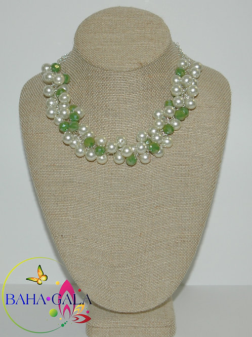 Glass Pearls & Crystals Crocheted Necklace Set.