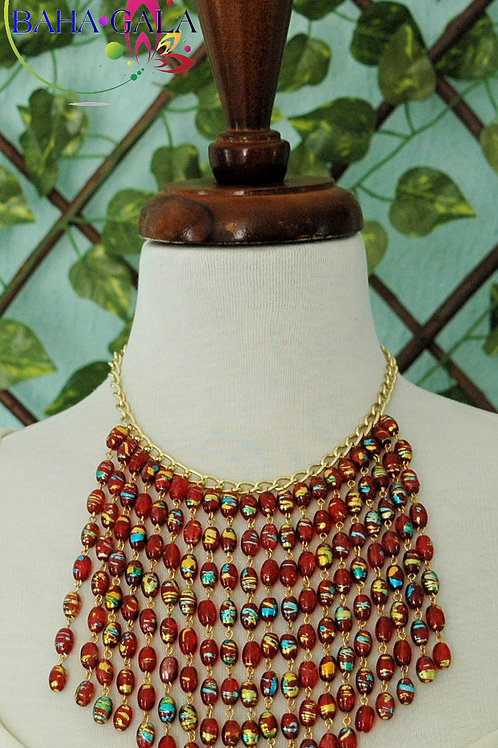Stunning Red & Gold Murano Glass Waterfall Necklace & Earring Set.
