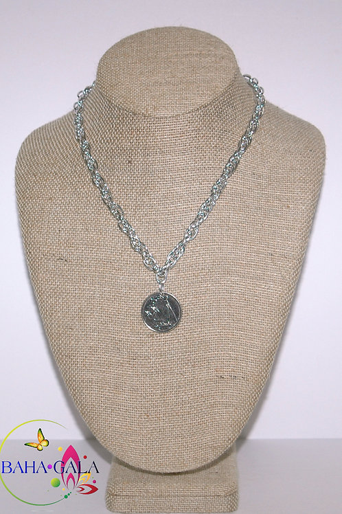 BG Authentic $0.25 Cent Bahamian Coin Pendant Necklace.