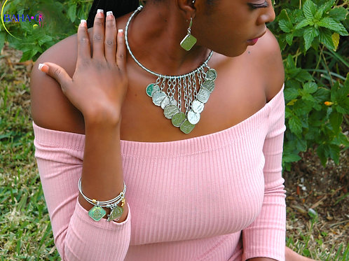 """Authentic Bahamian Coins """"Waterfall"""" Necklace & Earring Set."""