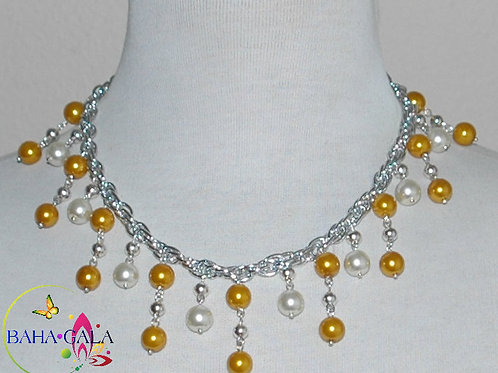 Gold & White Glass Pearls Waterfall Necklace & Earring Set.