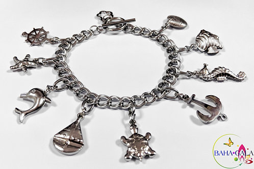 BG Aquatic Double Linked Stainless Steel Charm Bracelet.