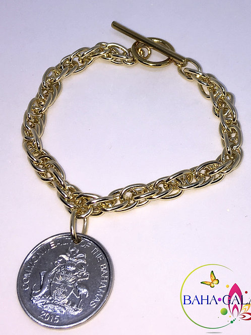 Authentic Bahamian $0.25 Cent Coin Bracele