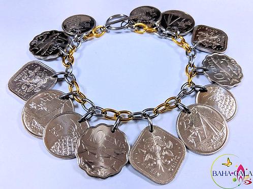 Authentic Bahamian Coins Charm Bracelet.
