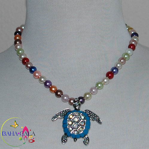 Multicolored Glass Pearls Necklace & Earring Set.