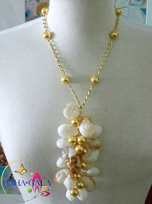 Natural Snail Shells & Canary Yellow Glass Pearls Necklace & Earring Set.