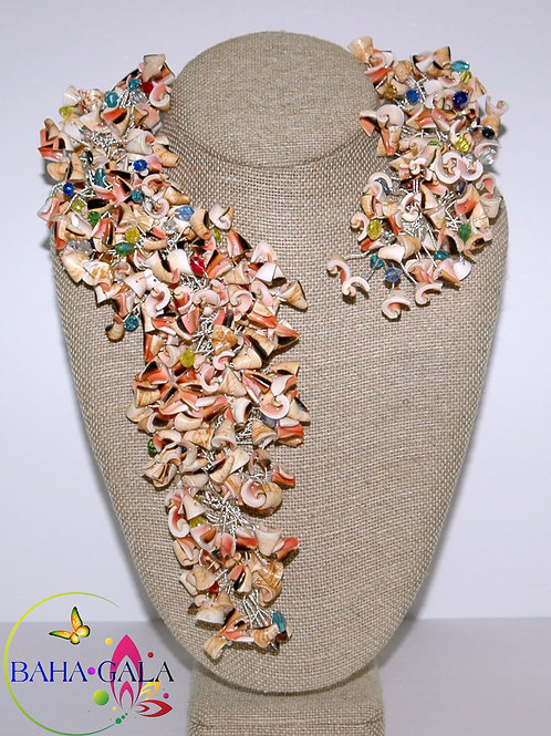 Natural Pink Conch Shells & Multicolored Crystals Necklace & Earring Set.