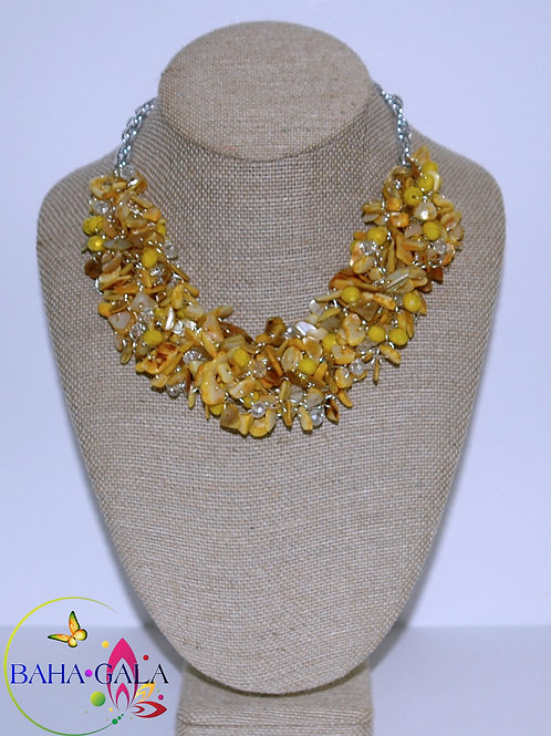 Yellow Mother of Pearl & Crystals Necklace Set.