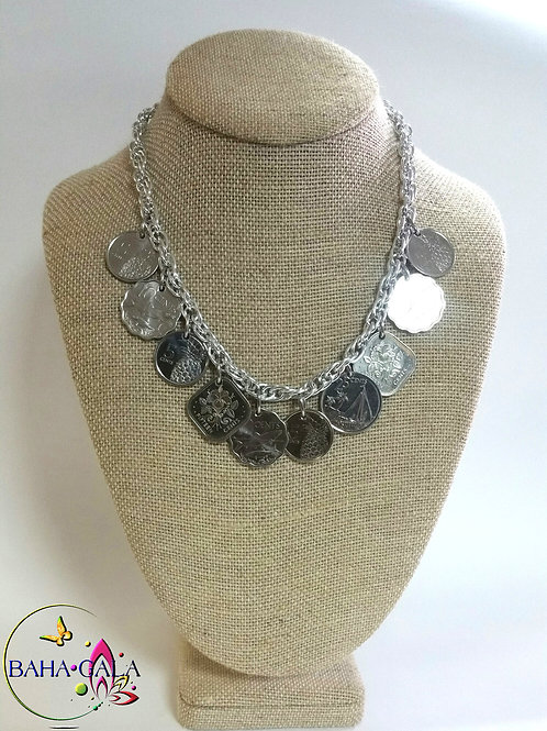 Authentic Bahamian Coins & Charm Necklace & Earring Set.