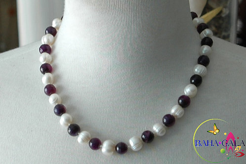 Lovely Freshwater Pearls & Purple Agate Necklace & Earring Set.