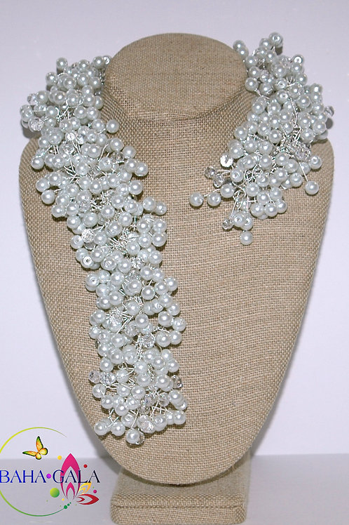 White Glass Pearls & Crystals Necklace & Earring Set.