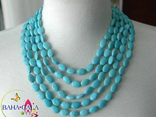 Beautiful 5-Strand Turquoise Necklace & Earring Set.