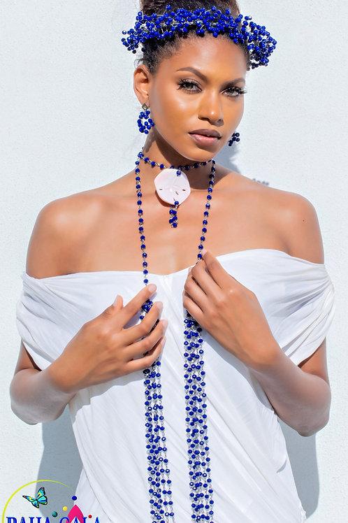 Elegant Cobolt Blue Cascading Opera Necklace Set.