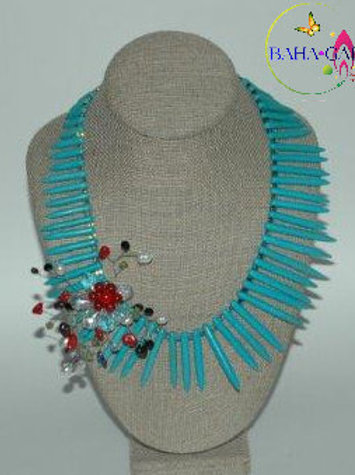 Turquoise Sticks & Crystals Necklace & Earring Set.