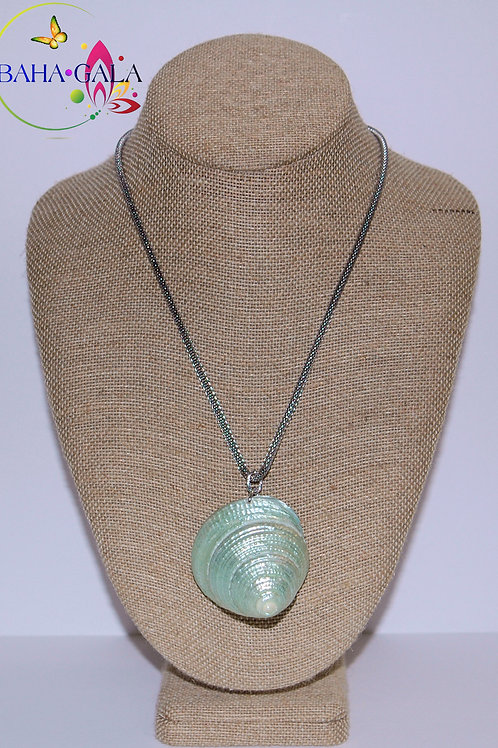 Natural Green Shell Pendant Accented on Silver Stainless Steel Chain.
