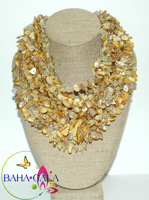 Yellow Multistrand Crocheted Mother Of Pearl & Crystals Necklace Set.