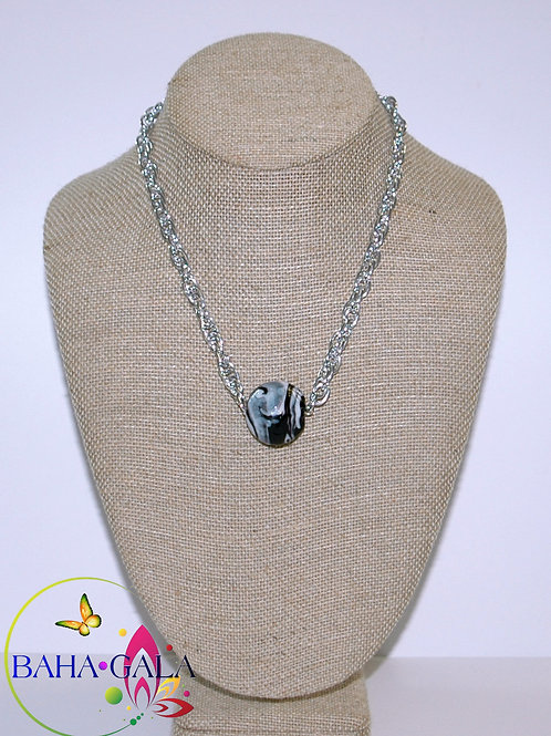 Black Swirl Agate Pendant Accented on Silver Stainless Steel Chain.