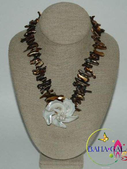 Chocolate Coral Branches Necklace & Earring Set.