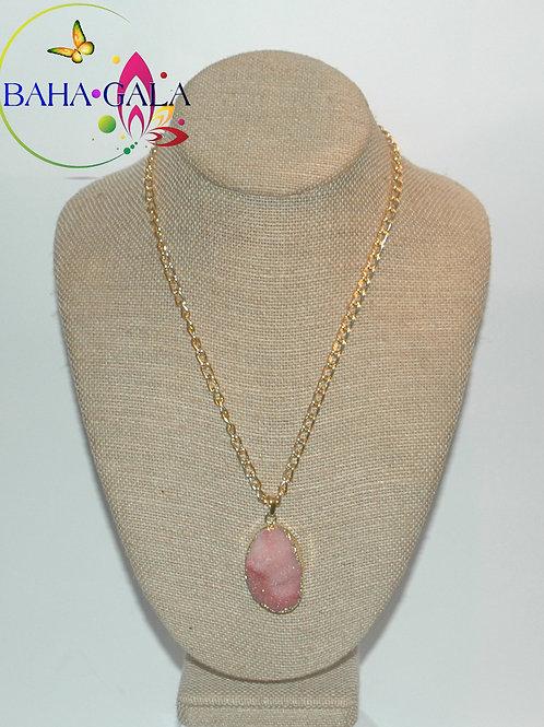 Natural Rose Pink Agate Pendant.