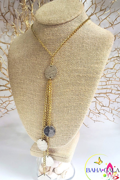 Lovely Gold Stainless Steel Mermaid Floating Necklace & Earring Set