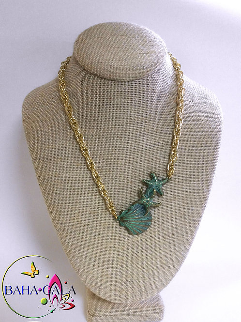 Beautiful Geeen Metal Shells Necklace Set.