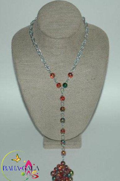 Red Murano Glass Cats Eye Necklace & Earring Set