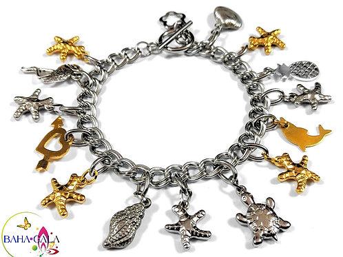 BG Aquatic Double Linked Stainless Steel Charm Bracelet.