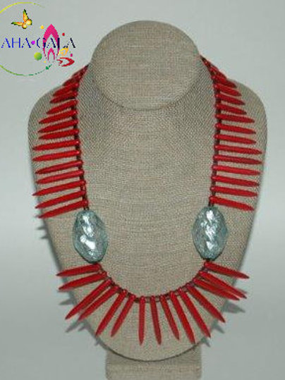 Dyed Red Turquoise Sticks & Crystals Necklace & Earring Set.