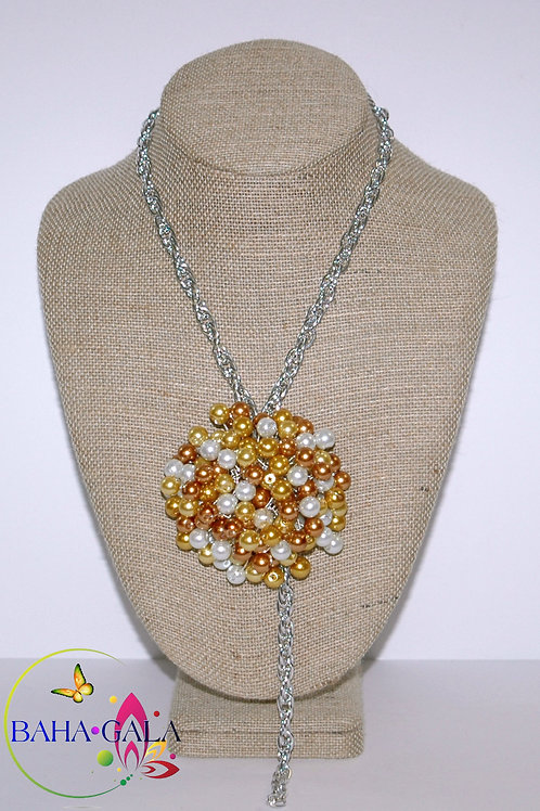 Yellow & White Glass Pearls Necklace Set.