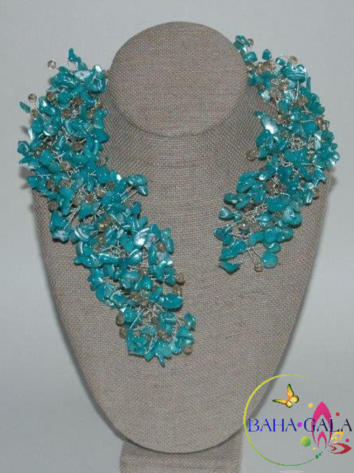 "Turquoise Mother Of Pearl Chips ""Crown Jeweled"" Necklace & Earring Set."
